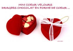 Mini Coeur Velours Rouge Dragées Coeurs